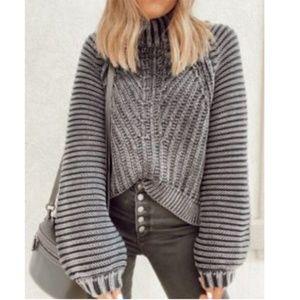 Free People Sweetheart Sweater Gray Mock Neck